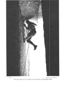 Tom Frost climbs out of a chimney on the north face of Quarter Dome.  Yvon Chouinard