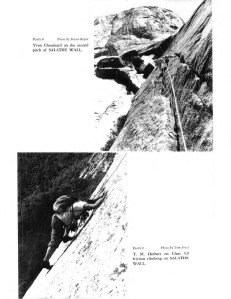 Yvon Chouinard crack climbing and T.M. Herbert friction climbing on the Salathé Wall. Steve Roper, Tom Frost