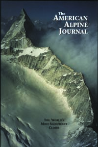 The cover of the AAJ 2003, showing Arwa Tower from the summit of Arwa Spire Central Peak.  Stephan Harvey