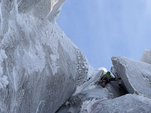 Marko Prezelj high on the first ascent of The Bollocks on Rulten.  <i>Bjorn-Eivind Aartun<i/>