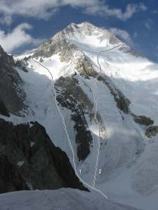 The southwest face of Gasherbrum I (Hidden Peak). (1) Afanasiev-Babanov, 2008. (2) Kukuczka-Kurtyka, 1983.  Photo by Valery Babanov.